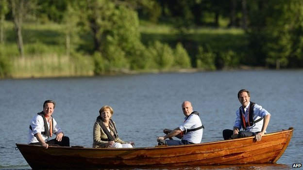 The four leaders took to the river for a spot of relaxation before the talks began in earnest
