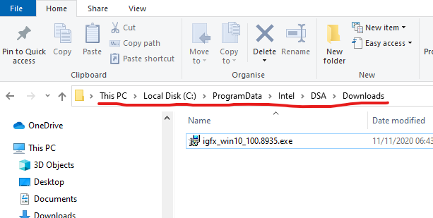 The Intel Driver & Support Assistant downloads directory