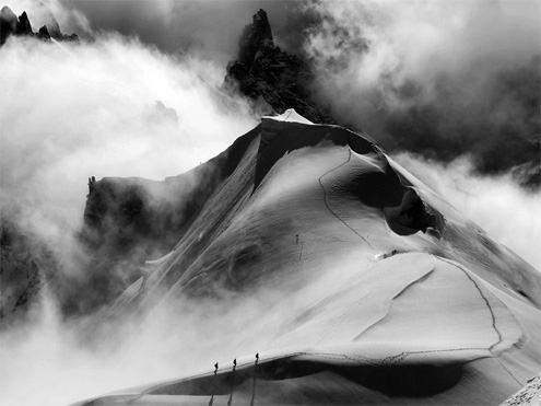 Alpine Climbers, Midi-Plan Traverse, France