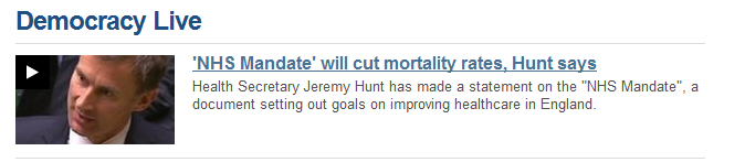 NHS Mandate will cut mortality rate, Hunt says