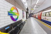 Tottenham Court Road station, with the Underground roundall recoloured
